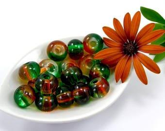 European beads 12 mm Green orange translucent glass set of 2