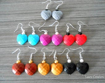 Faceted heart earring