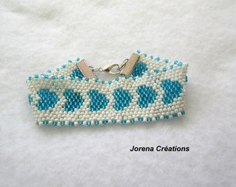 Cuff Bracelet seed beads, white and blue hearts