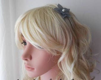 Amelia gray silk flower headband