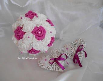 All Bouquet & ring bearer CAMILIA/CAPUCCINE fuchsia & white