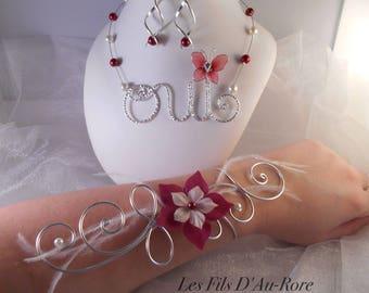 HOLLY CLARANCE 3 piece necklace, bracelet & Bocules wedding set