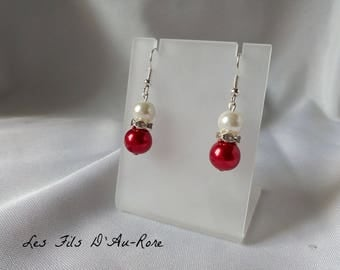 """Earrings """"Blue"""" with Pearl & red beads"""