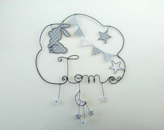 """""""Bunny dreams"""" personalized wire name decor for nursery wall cloud"""