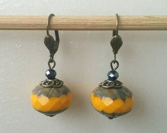 Orange yellow Czech glass Pearl Earrings