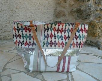 Handbag bag, handbag, cotton jacquard and canvas, handles camel leather.
