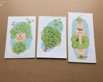 LOTS of 10 small nature, childlike style cards