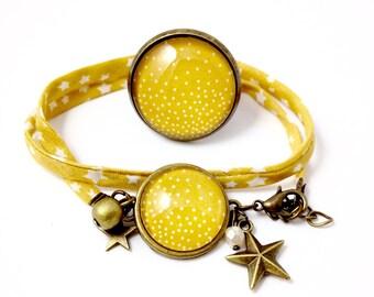 Bronze ornament - snowflake dots (large ring + bracelet) cabochon
