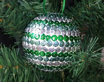 Christmas ball with sequins - green and silver