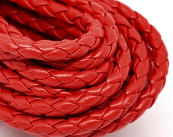 2 m red braided leather cord