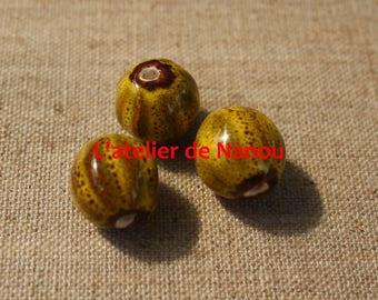 handmade 16 mm yellow ceramic bead