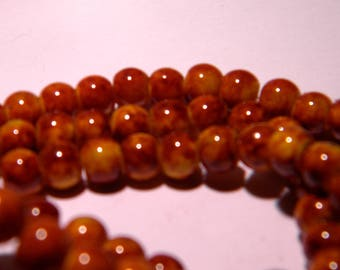 marbled glass 6 mm - mustard marbled Brown PG130 20 beads