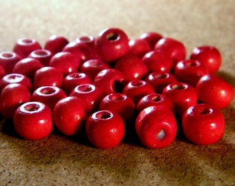 50 8 mm barrel B7 shape - red - painted wooden beads
