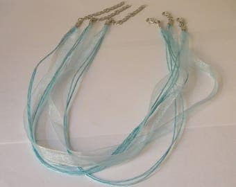 3 cord necklace turquoise waxed cotton organza 43-48 cm adjustable silver clasp