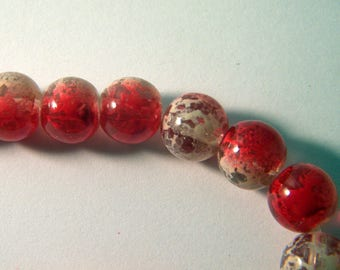 10 pearls glass trefilee 10 mm red n ° 4
