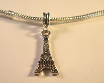 Pearl scale antique Eiffel Tower-silver - 42 mm - hole: 5 mm chain 23