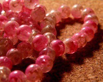 45 glass beads 6 mm speckled 2 tone translucent - pink - PE187-4