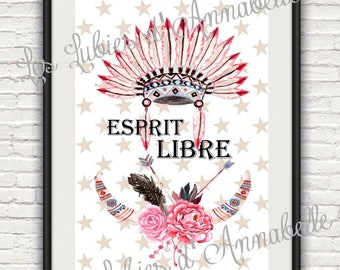 A4 poster for free spirit Indian theme baby room