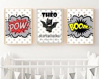 3 posters A4 theme superhero Batman baby/child size