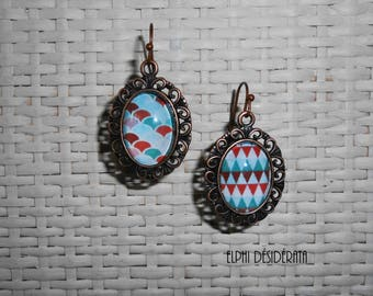 "Earrings ""Scandinavian pattern"" retro, graphic cabochon"