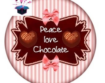 1 cabochon clear 20mm chocolate theme
