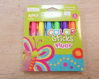 6 solid gouaches stick fluoride