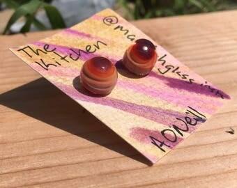 Red Swirl Glass Earrings