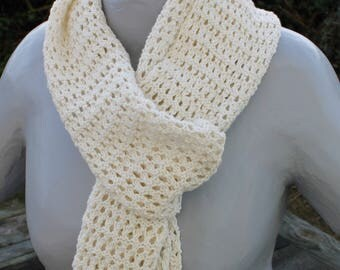 natural linen and cotton openwork scarf