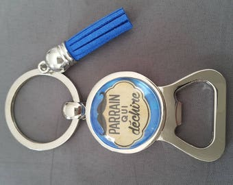 "key ring personalized bottle opener ""Godfather who rocks"" by lolaclarabijouxREF:DEPAR13"