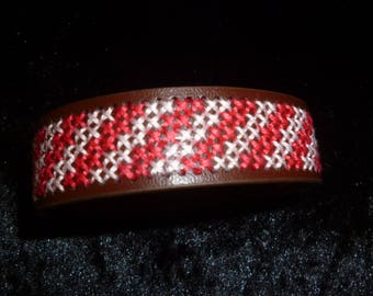 cross-stitched pink and pale pink brown leather Cuff Bracelet