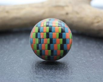 Ring - collection bargello - polymer clay