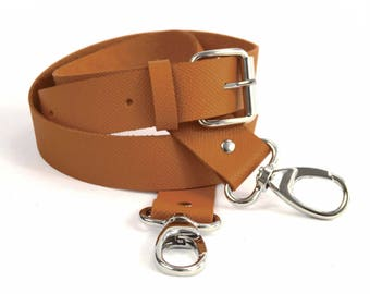 Camel leather grained snap adjustable strap