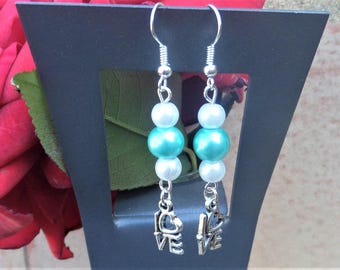Earrings dangle wedding turquoise, white pearls and heart