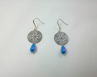 Earrings Silver 925, charm and Pearl
