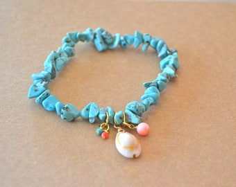 Bracelet Howlite Turquoise and shell