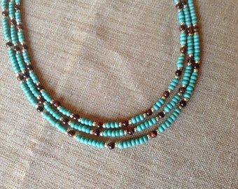 Red Tiger eye and howlite turquoise MULTISTRAND necklace.