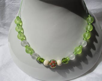 Green and white necklace with Lampwork beads and frosted glass beads
