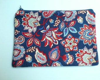 Pencil Case, Cosmetics Pouch, Small Toiletries Bag, Americana Paisley Print, Fully Lined, Zippered