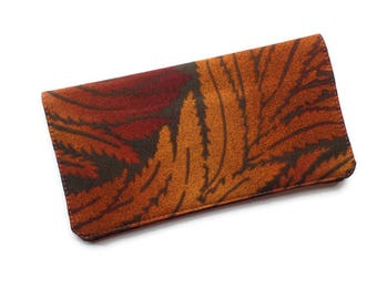 """Checkbook Cover 6.5""""x3.5"""",Brown Japanese Leaves Fabric, Coupons Wallet, Cash Holder, For Him or Her"""