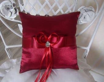 Burgundy satin wedding ring pillow cushion