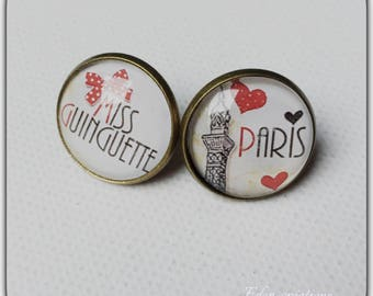 Stud Earrings 18 MM, Paris, Tour Eiffel, miss guinguette glass
