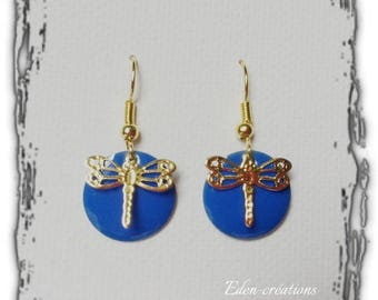 Blue round enamel sequin King and Dragonfly earrings