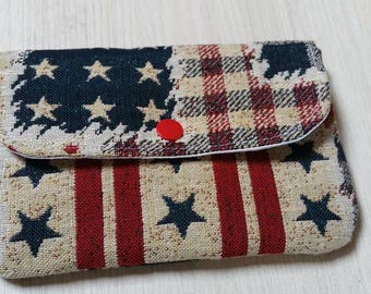 Small pouch for handbag American flag pattern