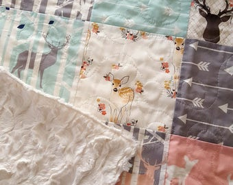 Woodland Baby Girl Quilt, Fawn Quilt, Deer Quilt, Toddler Girl Bedding, Crib Quilt, Nursery Bedding, Deer Baby Bedding