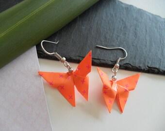 Silver origami butterfly earrings