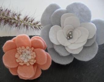 Felt flower Barrettes