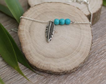 Bracelet turquoise feather beads