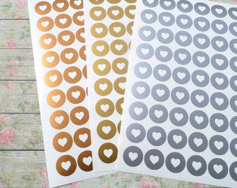 24 round stickers heart stickers gold / metallic gold