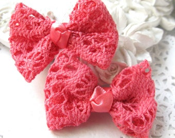 Lace bow with hot pink satin ribbon