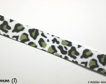 50 cm of Ribbon Gros Grain Leopard 16mm Polyester and cotton